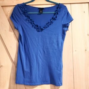 H&M Bow Detail V-Neck Stetch Tee